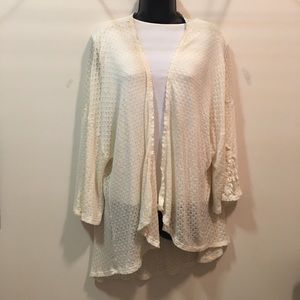 Eyeshadow brand 2XL lace long cardigan sweater